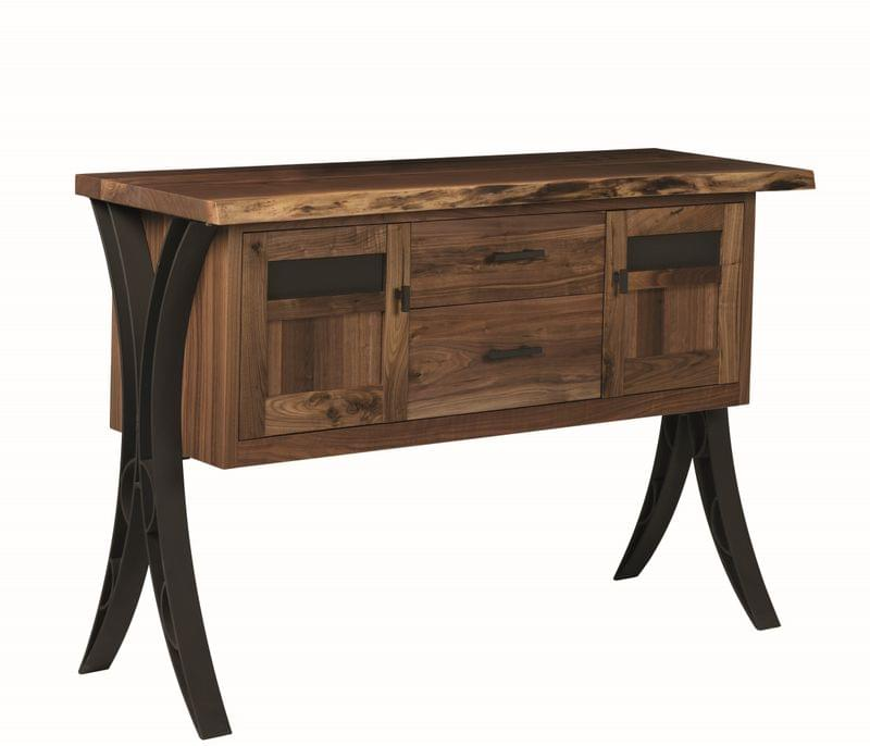 Walnut Live Edge Buffet With Steel Base And Hardware