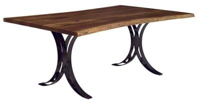 Live edge dining table with double curved steel bench tn
