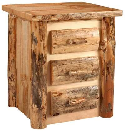 Lodge pole pine 3 drawer nightstand