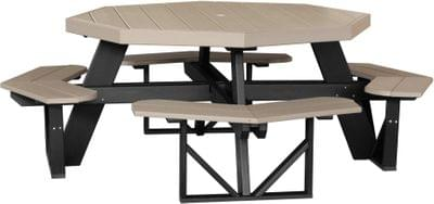 Poptwwb octagon picnic table weatherwood black